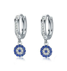 Evil Eye Drop Hoop Earrings in 925 Sterling Silver