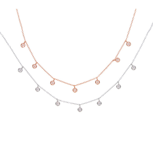 Multi Round Drop Necklace in 925 Sterling Silver