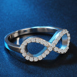 Infinity Ring in 925 Sterling Silver with CZ