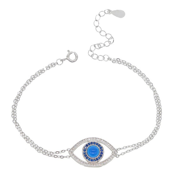 Lucky Evil Eye Chain Bracelet in 925 Sterling Silver with CZ
