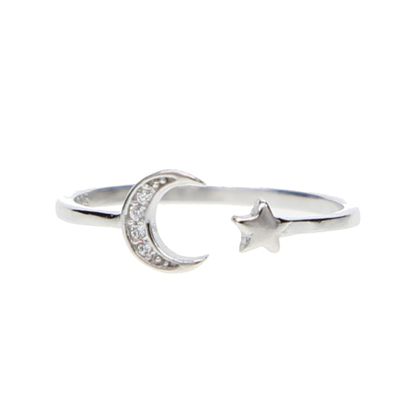Moon And Star Ring In 925 Sterling Silver