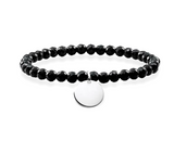 Round Disc ID Bead Bracelet In 925 Sterling Silver