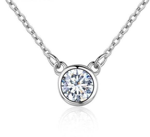 Round CZ Necklace In Rhodium Plated 925 Sterling Silver