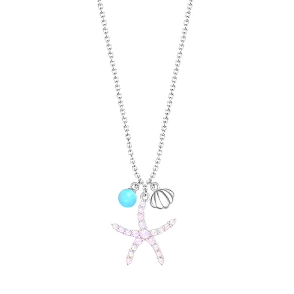 Starfish Charm Necklace In 925 Sterling Silver