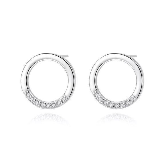 Mini Round Circle Stud Earrings in 925 Sterling Silver