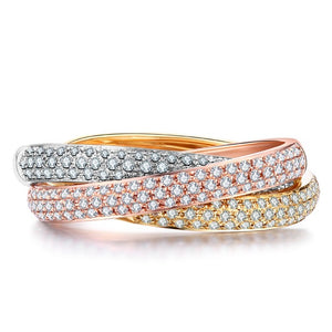 Triple Eternity Band Ring in 925 Sterling silver with CZ