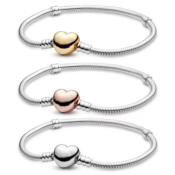Pandora Style Moments Heart Bracelet in 925 Sterling Silver