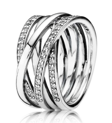 Pandora Style Cross Over Ring In 925 Sterling Silver