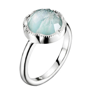 Round Amazonite Ring In 925 Sterling Silver