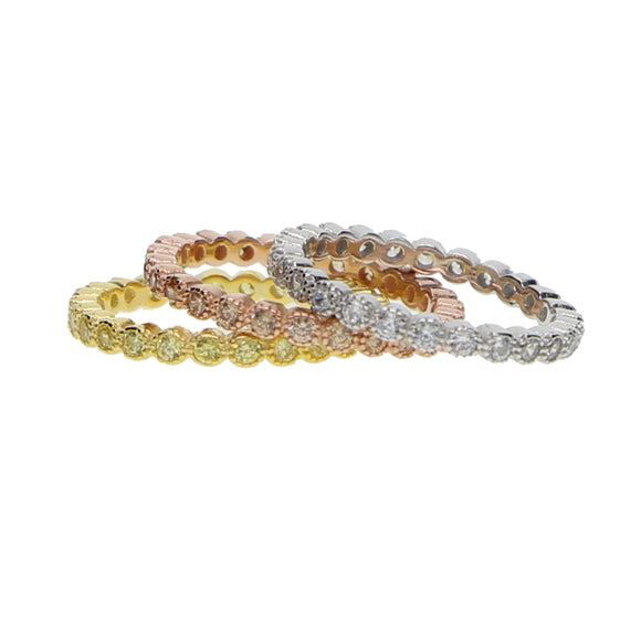 Eternity Band 3 Ring Set In 925 Sterling Silver