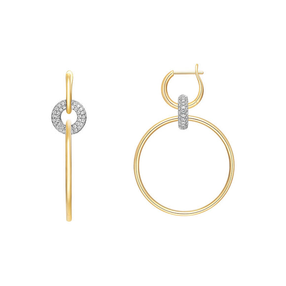 Double Gold Hoop Earrings in 925 Sterling Silver