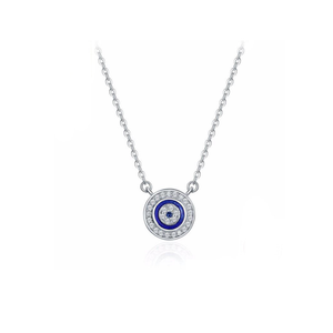 Enamel Evil Eye Necklace in Platinum Plated 925 Sterling Silver
