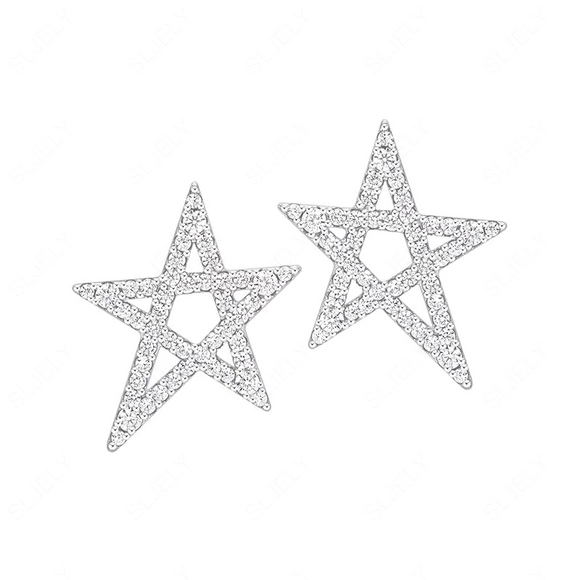 Tilted Star Stud Earrings in 925 Sterling Silver
