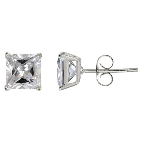 7mm Square CZ Stud Earrings In 925 Sterling Silver