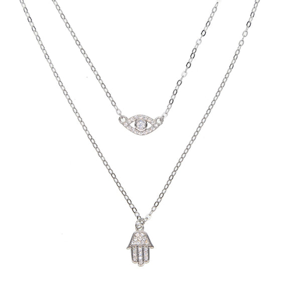 Double layered Evil Eye and Hamsa Hand Necklace in 925 Sterling Silver