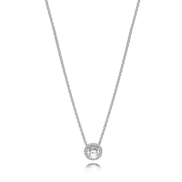 Modern Round Halo Pendant Necklace in 925 Sterling Silver