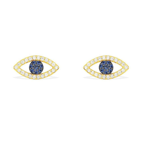 Designer Evil Eye Mini Stud Earrings In 925 Sterling Silver