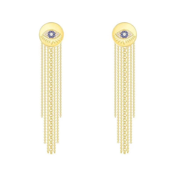 Round Evil Eye Stud Earrings In Gold Plated 925 Sterling Silver