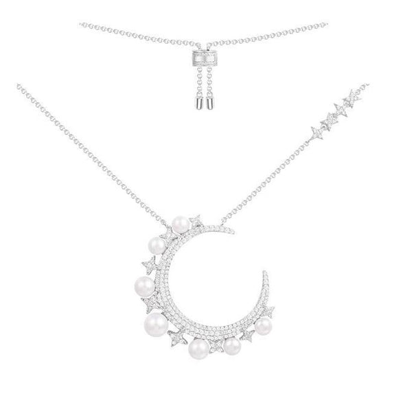 Designer Crescent Moon Pendant Necklace In 925 Sterling Silver