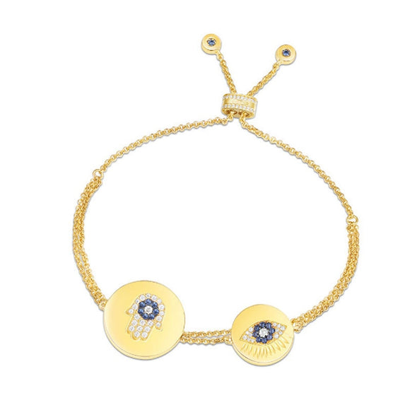 Gold Plated Hamsa Evil Eye Bracelet In 925 Sterling Silver