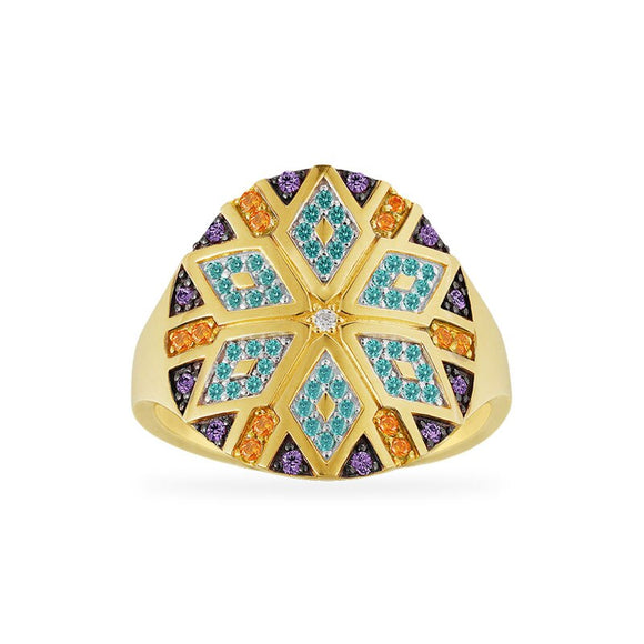 Geometric Round Gold Ring in 925 Sterling Silver