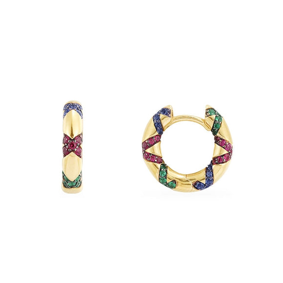 Multicolored Gold Hoop Earring in 925 Sterling Silver