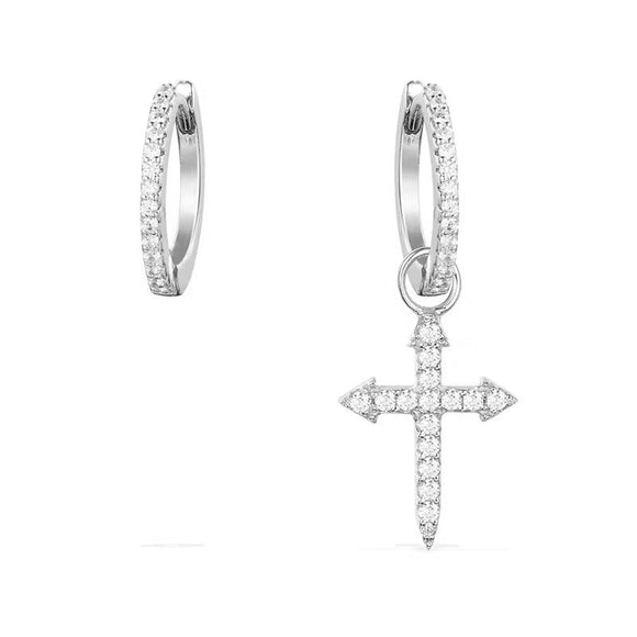 Cross Hoop Earrings in 925 Sterling Silver