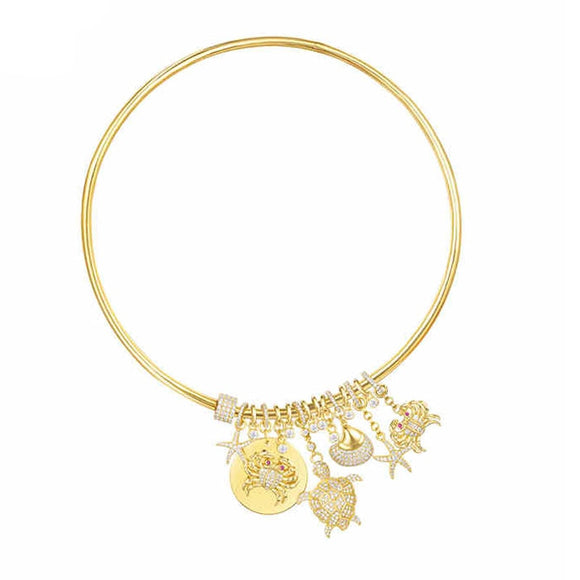 Designer Sea Charm Choker Necklace In Gold Plated 925 Sterling Silver
