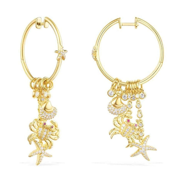 Designer Sea Charm Hoop Earrings In Gold Plated 925 Sterling Silver