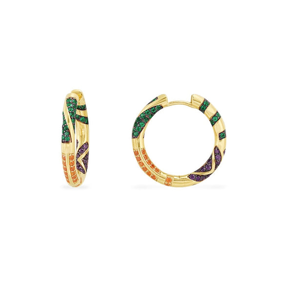 Tribal Gold Hoop Earrings in 925 Sterling Silver