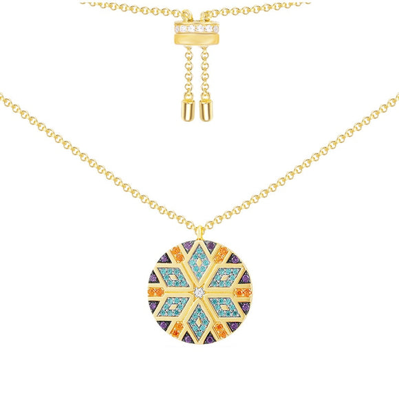 Multicolor Round Gold Necklace in 925 Sterling Silver