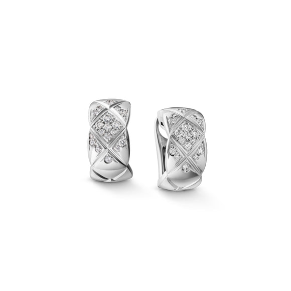 Wide Quilted Hoop Earrings in 925 Sterling Silver