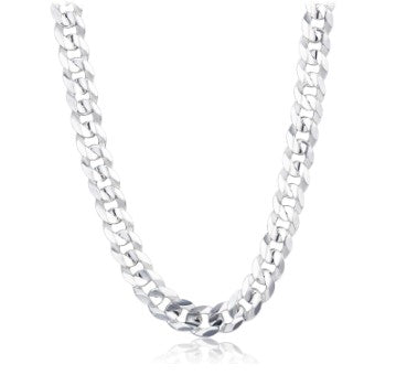 Mens Curb Chain Necklace in 925 Sterling Silver