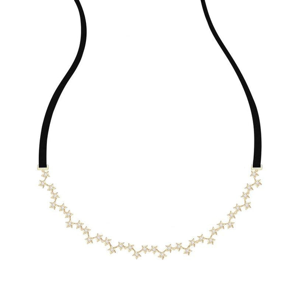 Retro Star Choker Necklace in 925 Sterling Silver