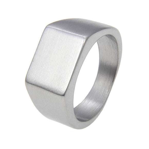 Rectangle Signet Ring for Men in 316L Stainless Steel