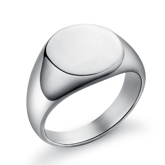 Round Signet Ring for Men in 316L Stainless Steel
