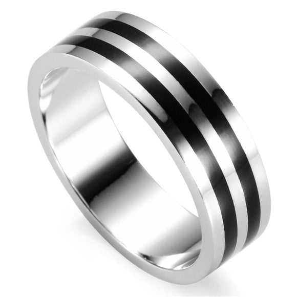 Black Stripe Band Ring for Men in 925 Sterling Silver