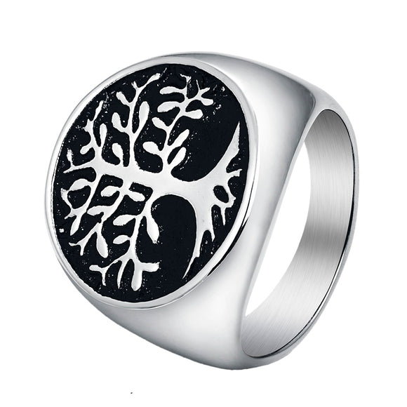 Tree of Life Round Ring for Men in 316L Stainless Steel