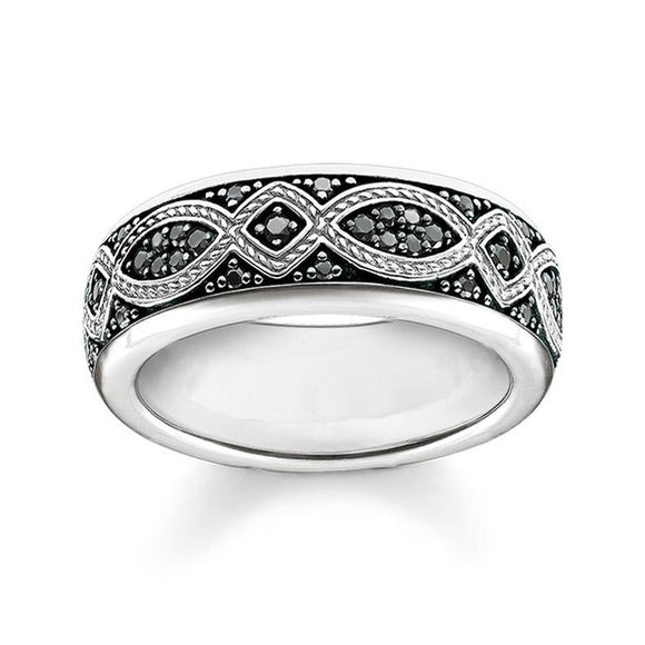 Black CZ Band Ring in 925 Silver Sterling