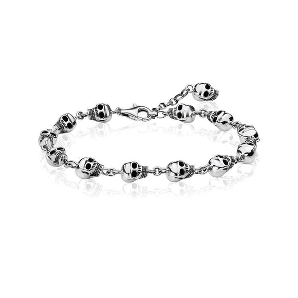 Multi Skull Bracelet for Men in 925 Sterling Silver
