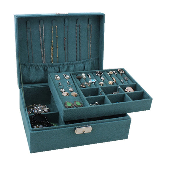 Double-layer Velvet Jewelry Box