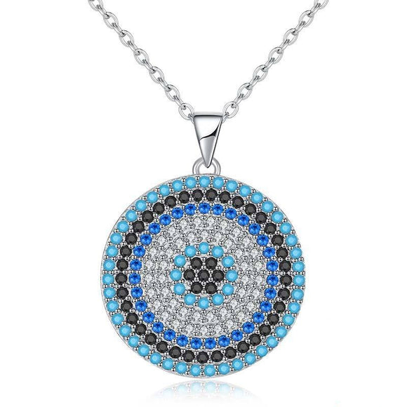 Round Eye Pendant Necklace in 925 Sterling Silver