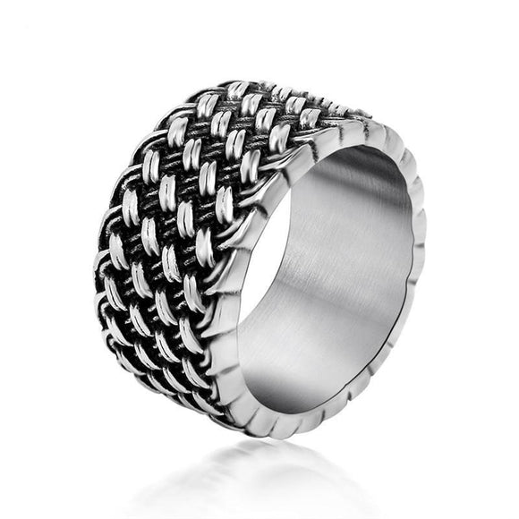 Textured Men's Ring in 316L Stainless Steel