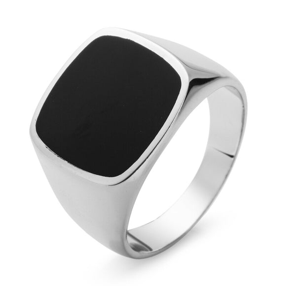 Black Signet Ring for Men in 925 Sterling Silver