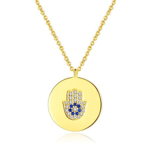 Round Hamsa Evil Eye Necklace