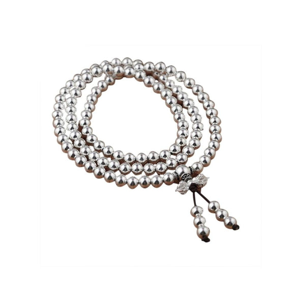 Multi-Layered Silver Bead Bracelet in 925 Sterling Silver