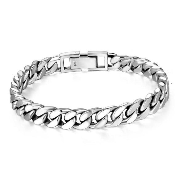 Curb Chain Bracelet for Men in 925 Sterling Silver