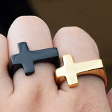 Side Cross Ring for Men in 316L Stainless Steel