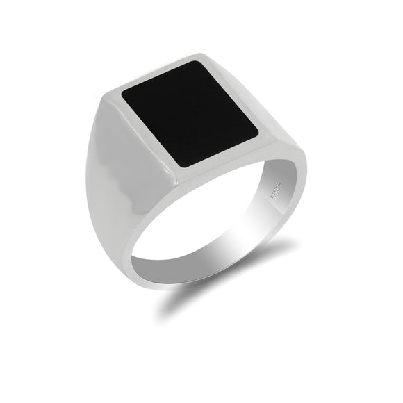 Black Rectangle Signet Ring for Men in 925 Sterling Silver
