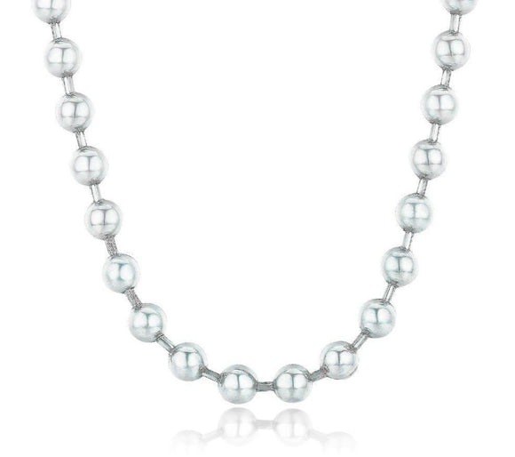 silver ball bead chain necklace